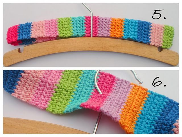Crocheted covered hangers.  Tutorial is in Dutch, but there are photos for every step which are perfectly clear.  Very nice, simple pattern to follow and an easy one to embellish or modify.