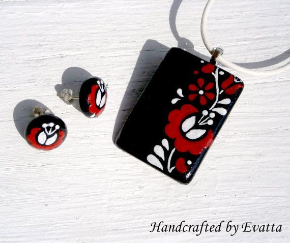Red Kalocsa earring and necklace by EviJewelry on Etsy