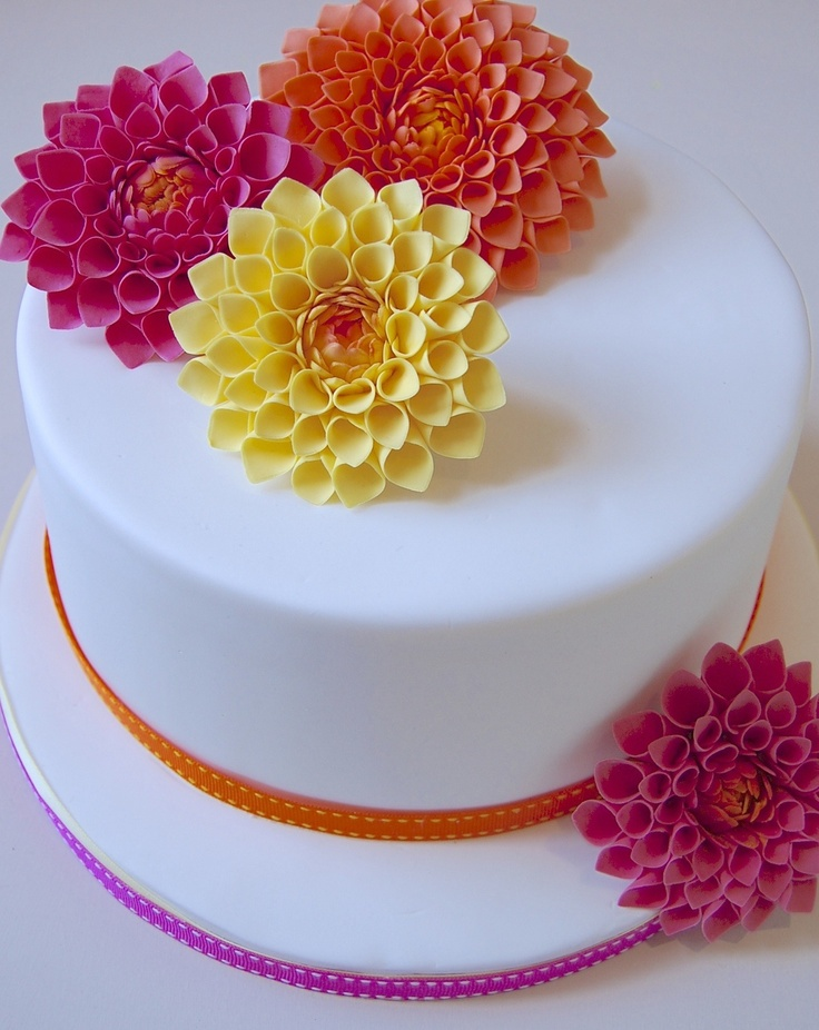 Yellow Orange Amp Pink Dahlia Cake Party Food Ideas
