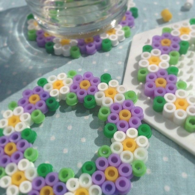 Flower coasters hama perler beads by hannecwo