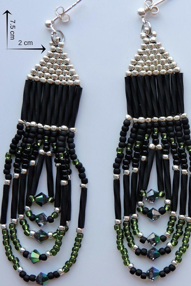 bijuterie artizanală cercei lungi cu franjuri din mărgele de sticlă și tortițe din argint 925 -ARGINTIU