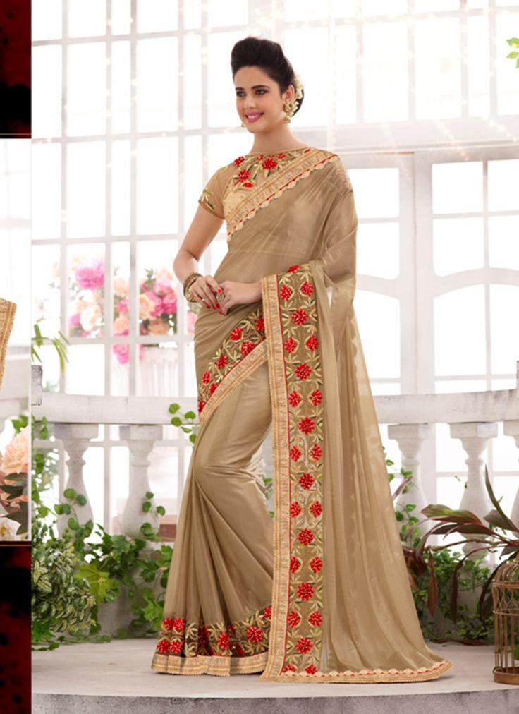 Beige Wholesale Designer Saree Supplier From India