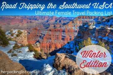 road trip packing list for southwest usa