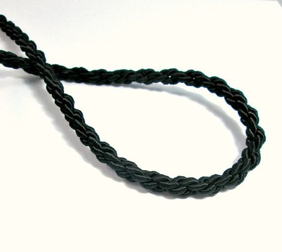Satin thick chain braided silk cord black 1m by OandN on Etsy #craftsupplies #jewelrysupplies #cord #rope #jewelrymaking #diyjewelry