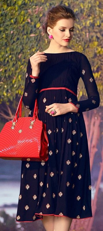 449925 Blue color family Kurti in Faux Georgette fabric with Machine Embroidery, Patch, Resham work .