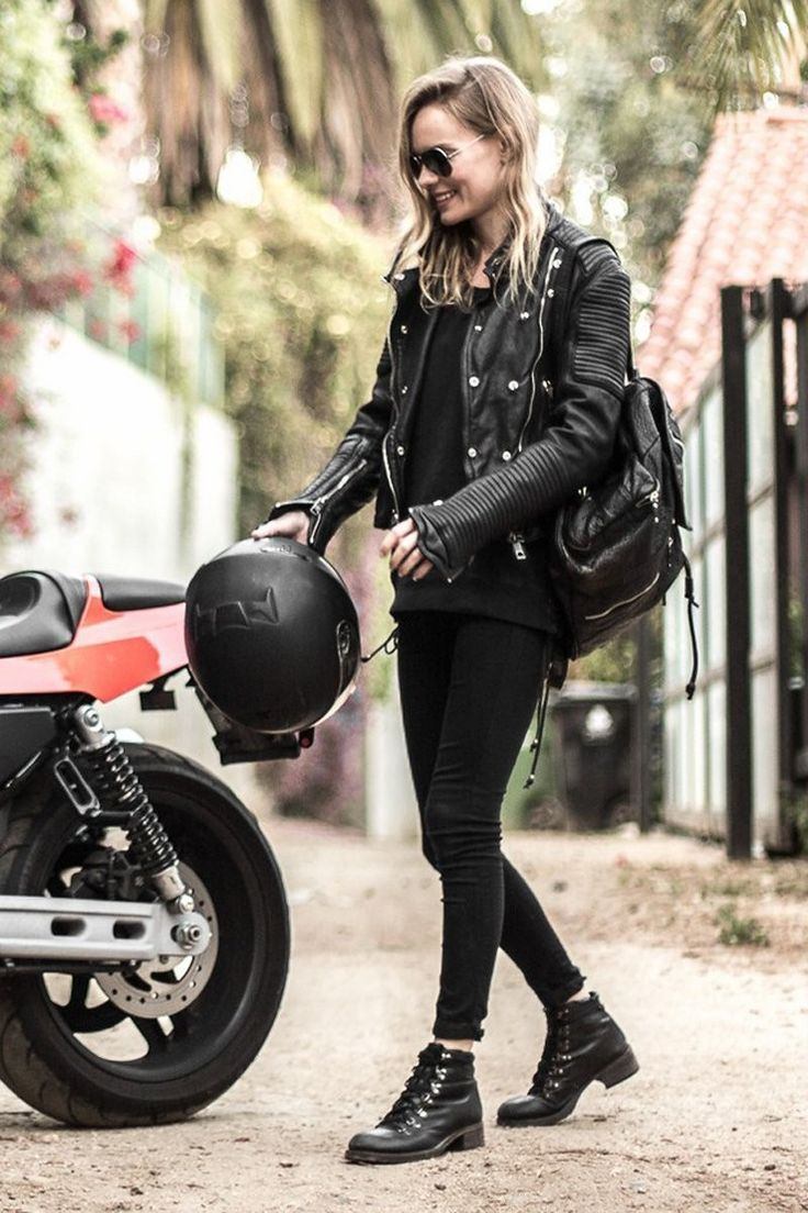 Coolest Biker Girl Outfits to Style Your Ride #biker #coolest