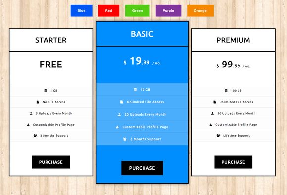 Pricing Tables - CSS3 by RikyBlue on Creative Market