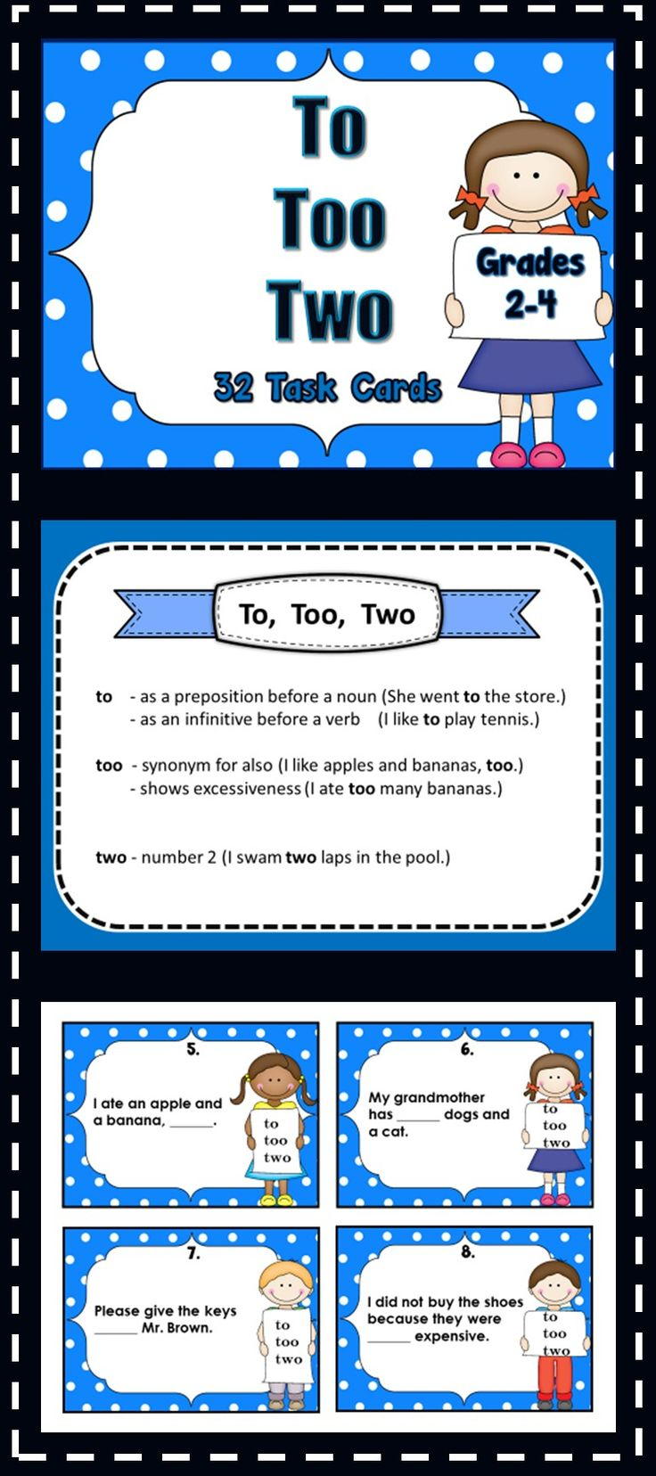 To, Too, Two Homophone Task Cards..This product contains 32 task cards..students select to, too, or two to complete the sentences...Answer key and recording sheet are included.