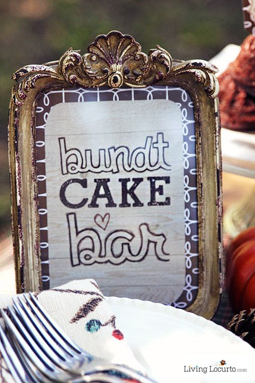 Decorate your own bundt cake bar party printables - How to decorate a bar ...