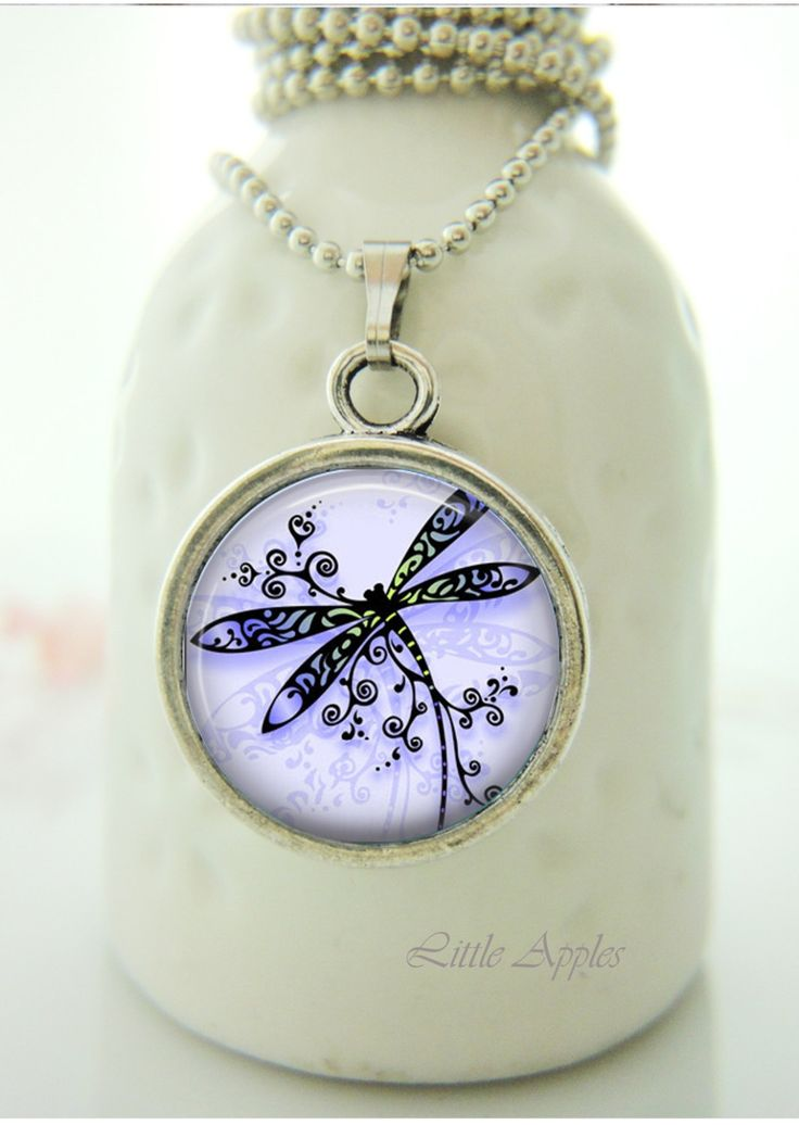 New to LittleApples on Etsy: Small dainty pretty purple dragonfly drawing glass necklace or keychain insect drawing art sketch (8.00 USD)