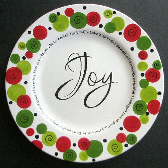 hand painted Christmas plates | Custom Personalized JOY Christmas Plate Hand by CottageJoy