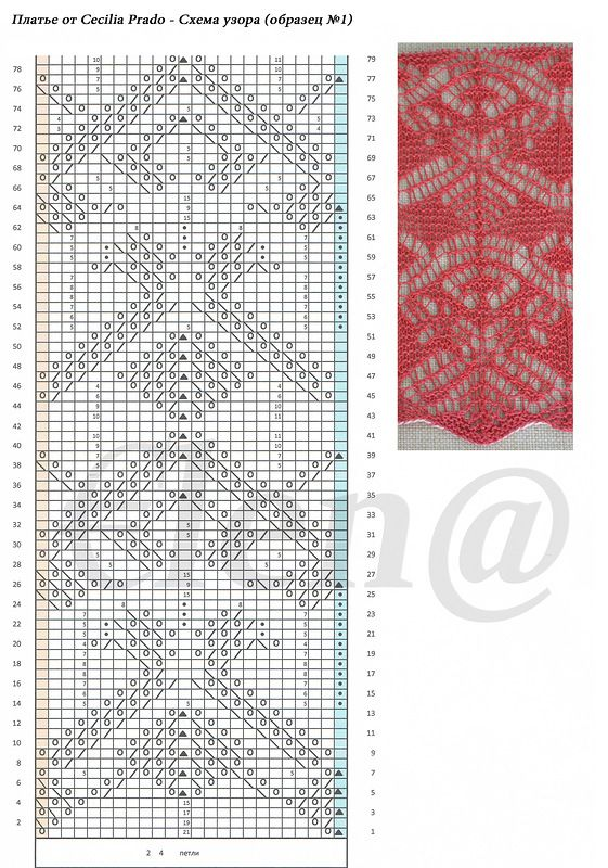 knit lace pattern with chart