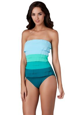 Modest Swimsuit - Layered Bandeau One-Piece
