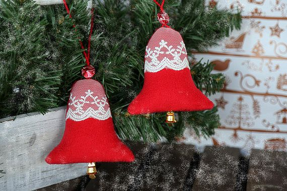 New Year tree hanging ornaments. Christmas tree fabric laces