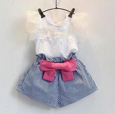2016 Sommer-Mädchen-Spitze T-shirt + Gestreifte Shorts Set Baumwolle Anzug Paket