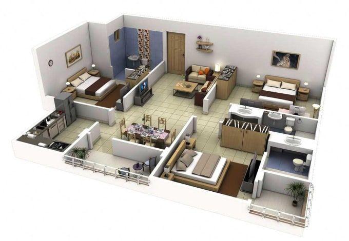 Surrayashabbir I Will Make 3d Floor Plan 2d Floorplan Rendering For 30 On Fiverr Com Apartment Floor Plans 3d House Plans Floor Plan Design