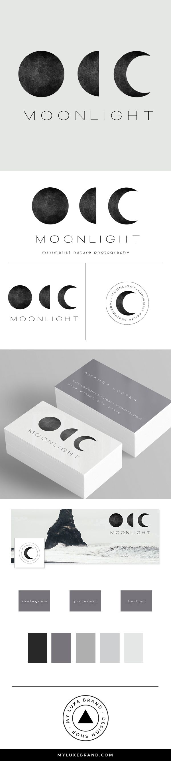 Moonlight Photographer Premade Brand Launch (sold only once)   MY LUXE BRAND - Brand Design Shop   logo design, brand design, branding, premade brand, premade logo
