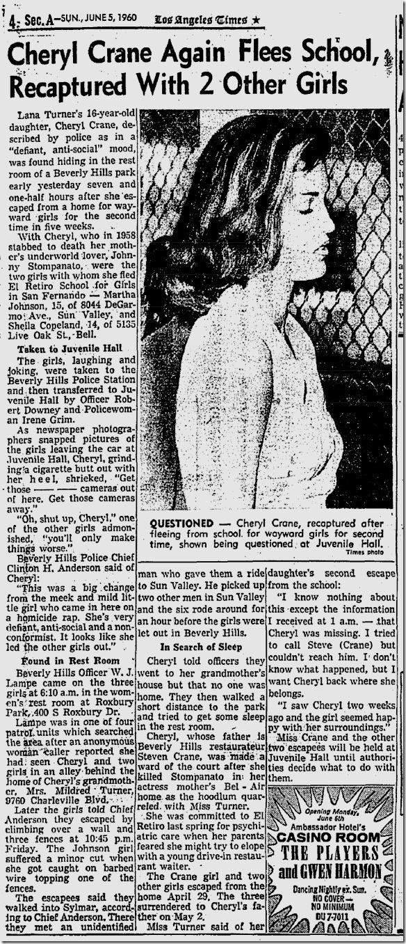 Cheryl Crane Johnny Stompanato   Cheryl Crane Escapes - latimes.com