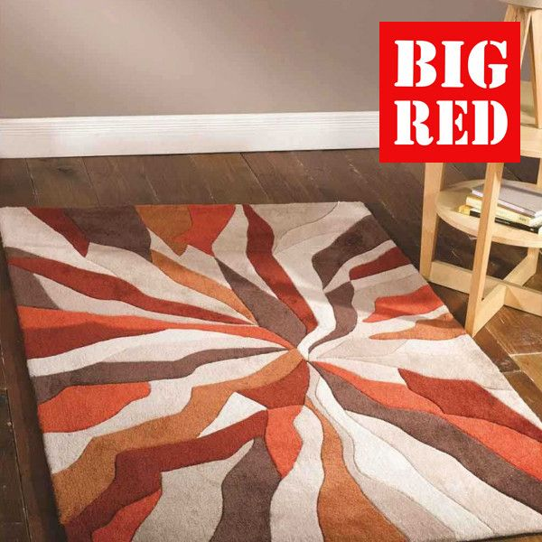 Damask Splinter Orange Infinite Flair Rugs Best Prices In The Uk From