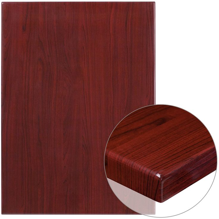 30″ x 42″ Rectangular High-Gloss Mahogany Resin Table Top with 2″ Thick Edge