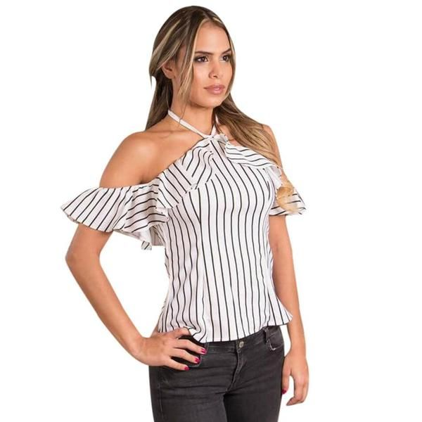 7110993f53 Women Off Shoulder Blouse Stripe Shirt Halter Short Sleeve Tops! blouses    shirts outfit