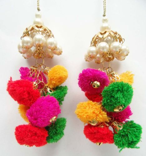 1-Pair-Multicolor-Pom-Pom-Pearl-Tassels-Accessory-Blouse-Latkans-Craft-Sewing