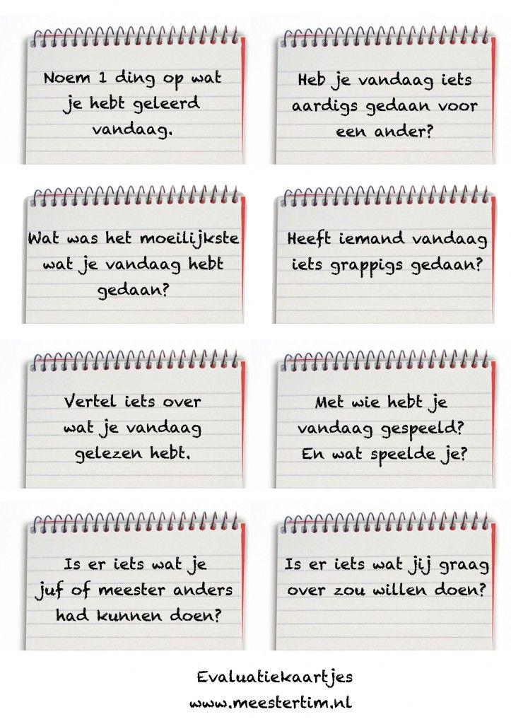 evaluatiekaartjes, vragen aan kinderen, evalueren, - Meestertim.nl