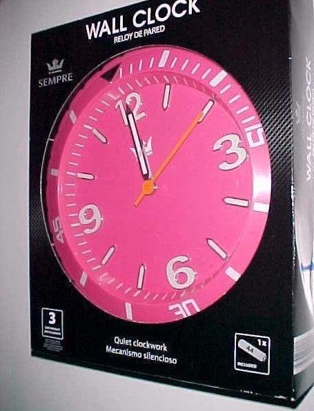 "Sempre Pink Quiet 10"" Quartz Wall Clock Aldi Inc. Battery Operated New NIB #Sempre #Modern"