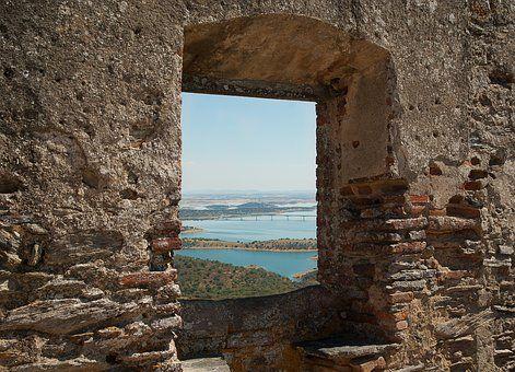 Portugalia, Zamek, Ruiny, Jezioro