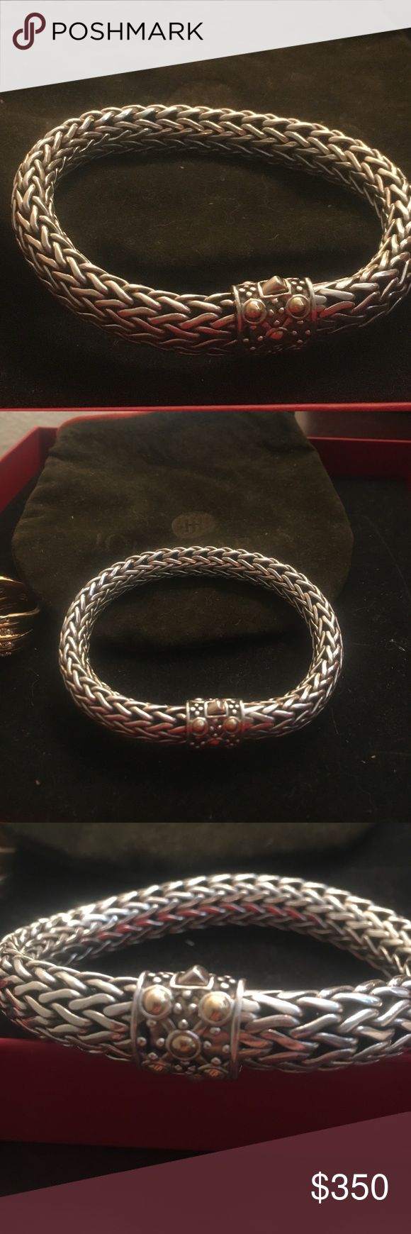 JOHN HARDY 💯% 👌🏼 18K GOLD SILVER LARGE BRACELET Purchased NEIMAN MARCUS DALLAS TEXAS LAST FALL!! May be able to find RECEIPT !!  ITS ONE OF THE LARGER THICKNESS!! Hard to see dimensions in pictures.  Paid 900 and was discounted from 1200. Lovely. Comes w bag!! 🎉🎉🎉🎉OFFERS WELCOME John Hardy Jewelry Bracelets