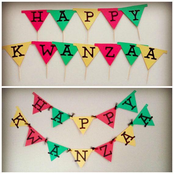 Happy Kwanzaa Cupcake Toppers, Happy Kwanzaa banner, Holiday Banner, Home Decor, Cupcake Toppers