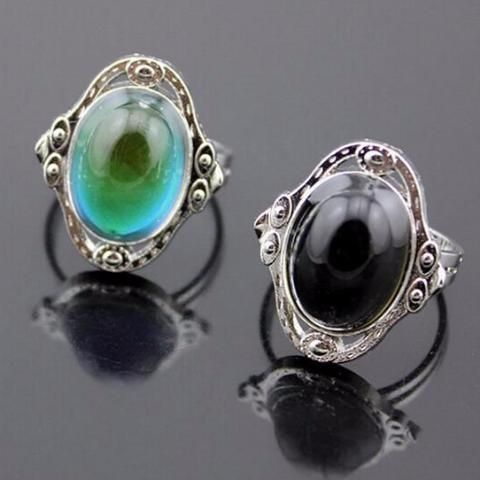 Vintage Style Mood Gem Necklace Emotion Temperature Control Ring Jewelry Set