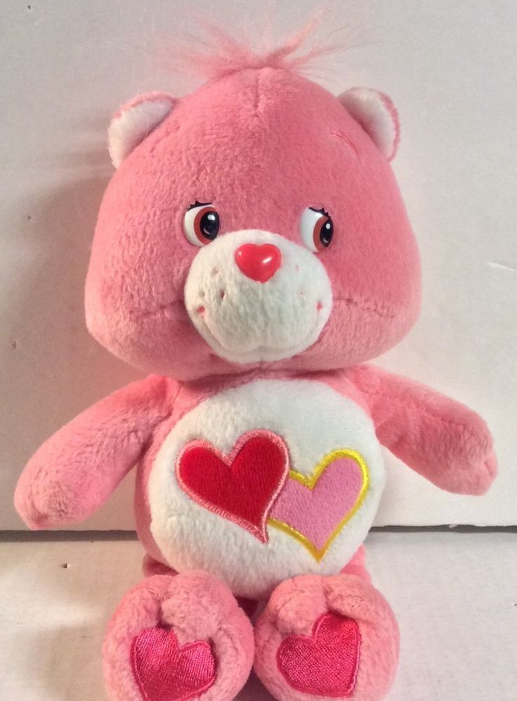 """CARE BEARS LOVE A LOT BEAR PINK With HEARTS STUFFED ANIMAL PLUSH DOLL TOY 8"""" #CareBears #AllOccasion"""