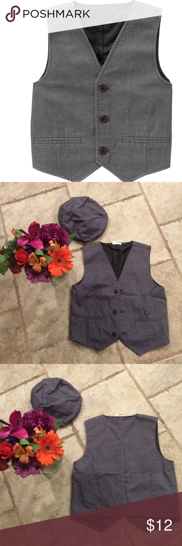Boys gray button up vest Boys gray button up vest. Nice for dressing up with dress shirt or wear with white t-shirt. Size Medium 7-8 also have size 2T. Have matching caps available in sizes 10-12 and 12-24 months. Worn 1x to a wedding. Crazy 8 Shirts & Tops
