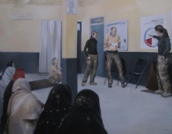 Undervisning i kvindesygdomme og graviditet. Danske sygeplejersker underviser afghanske kvinder, Camp Price. Mathilde Fenger. Olie på lærred 2011