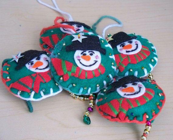 Felt Christmas Ornaments Snowman Hanging Ornament by WhisperingOak