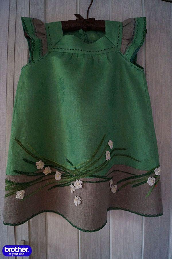 Декорируем одежду шнуром: Детское платье