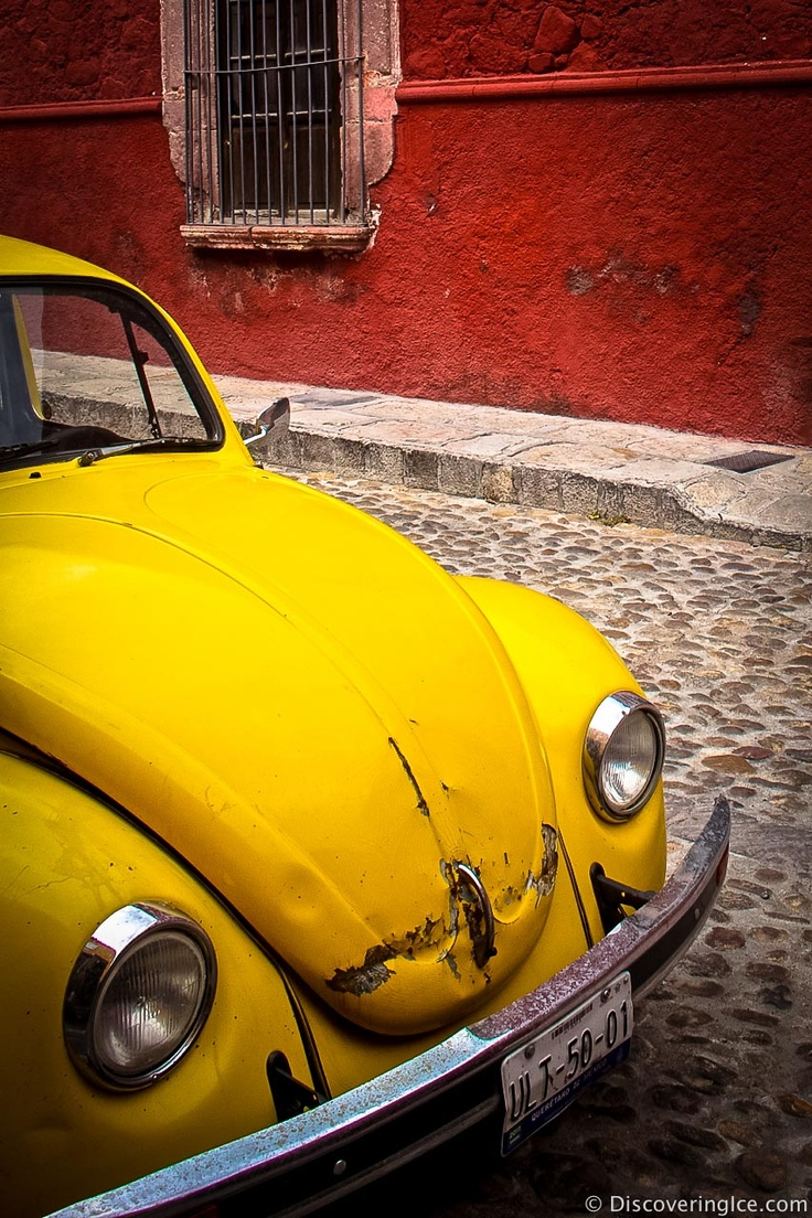 Yellow car in San Miguel de Allende    #travel #Mexico #Photography