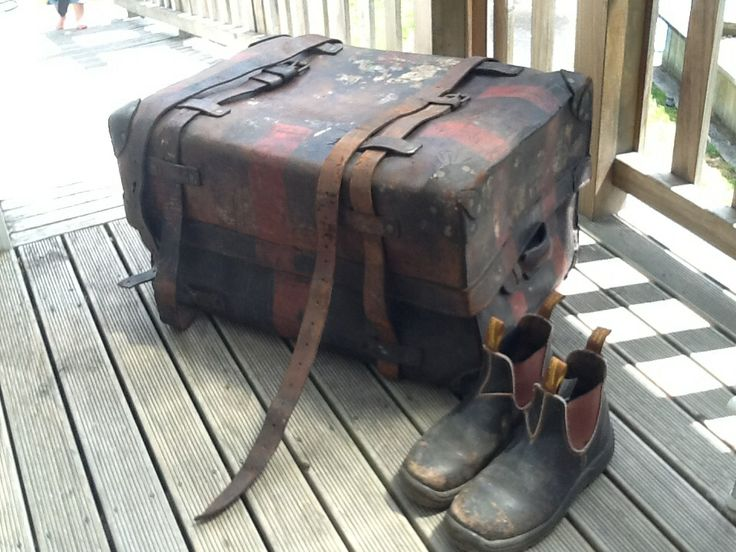 WW2 Leather captains trunk.