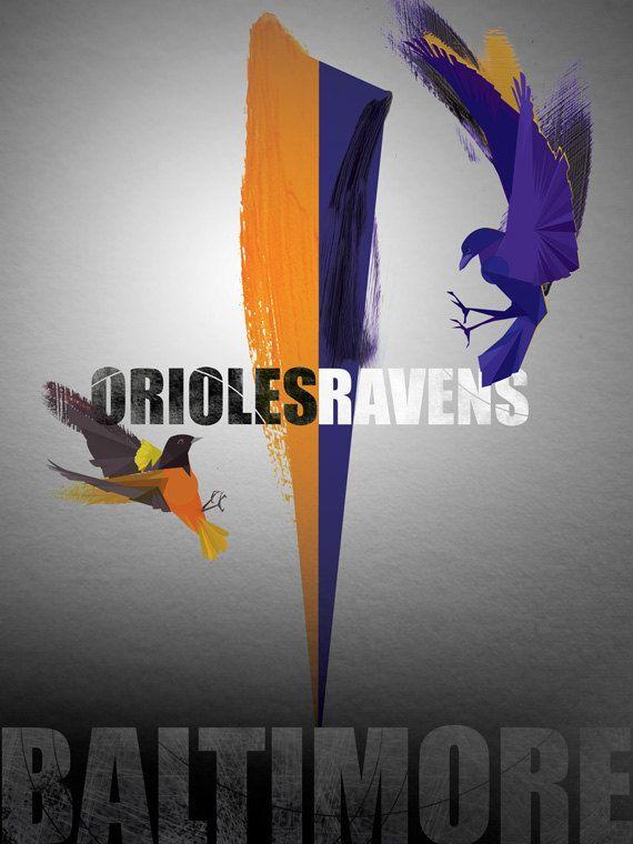 Birds of Baltimore - Orioles & Ravens Print.
