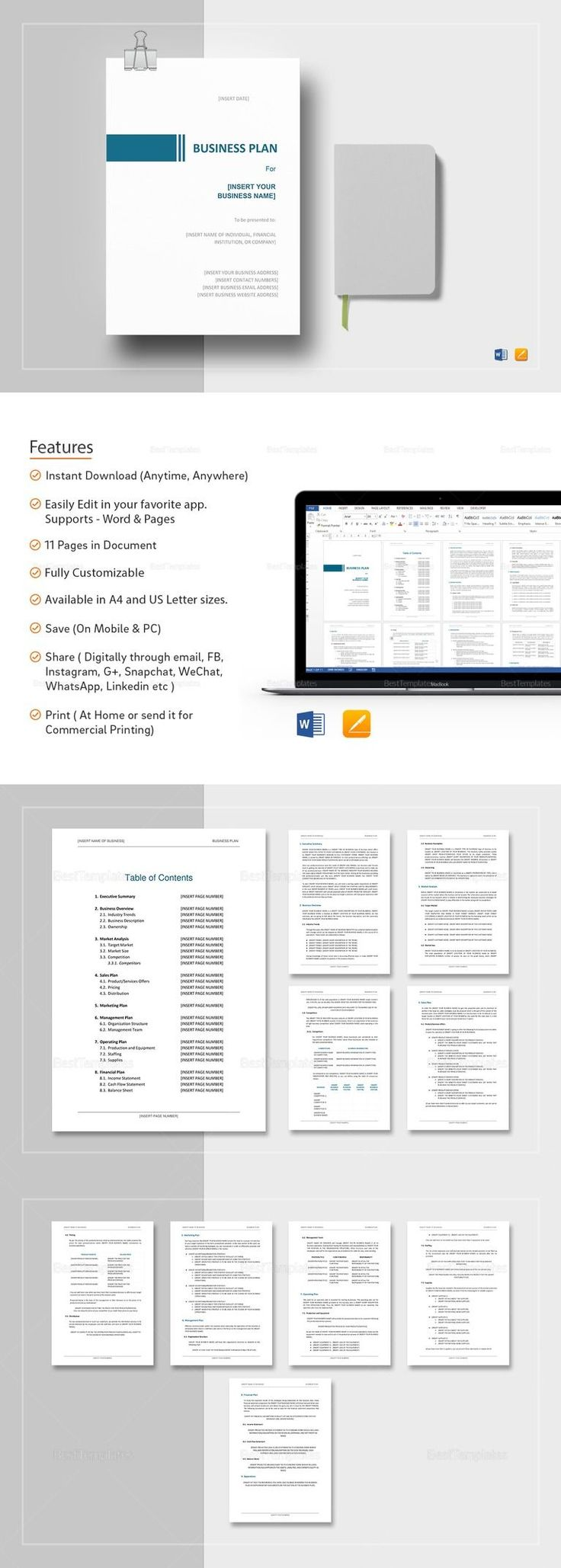 Simple Business Plan Template - $29 Formats Included :MS Word, Pages File Size :8.5x11 Inchs, 8.27x11.69 Inchs Pages :11