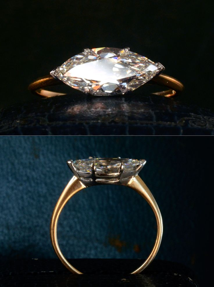 I was lucky enough to find another antique marquise shaped diamond that fit in the mounting we designed earlier this year. This one is a beautifully cut 1.51ct old marquise (GIA I/VS1) that dates to around 1900-20. We set it in a platinum top with an 18K yellow gold shank. (sold)
