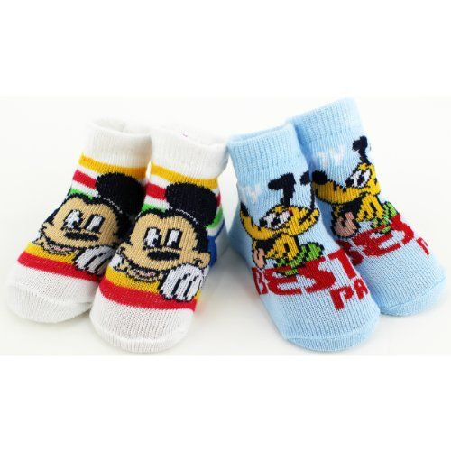 Disney Mickey Mouse Best Pals 2Gift Pack Booties Socks Size 06M *** To view