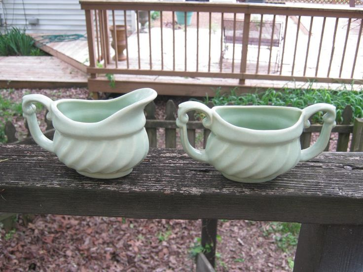 Green Pottery Cream And Sugar Set, USA #'s 518 And 519, Swirl Design, Pale Green Color, 6 By 3 Inches, Coffee And Tea Accessory, Kitchenware by Junkblossoms on Etsy