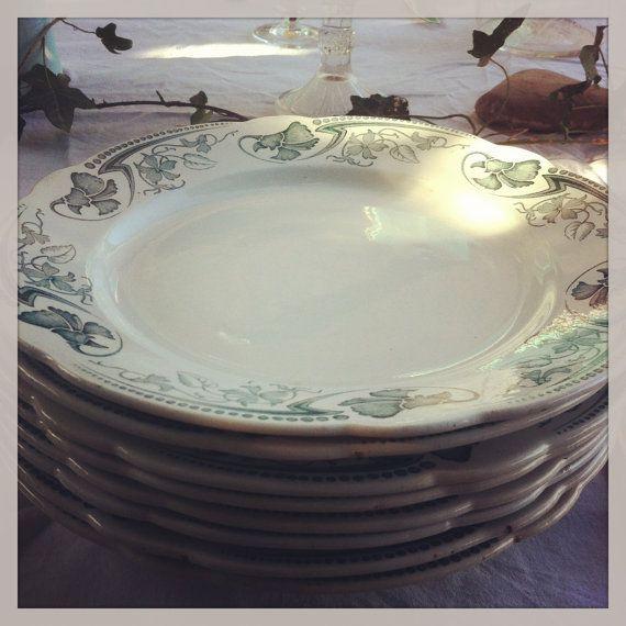 antique french plate luneville vintage plate par Antiquesfrenchshms, €160.00