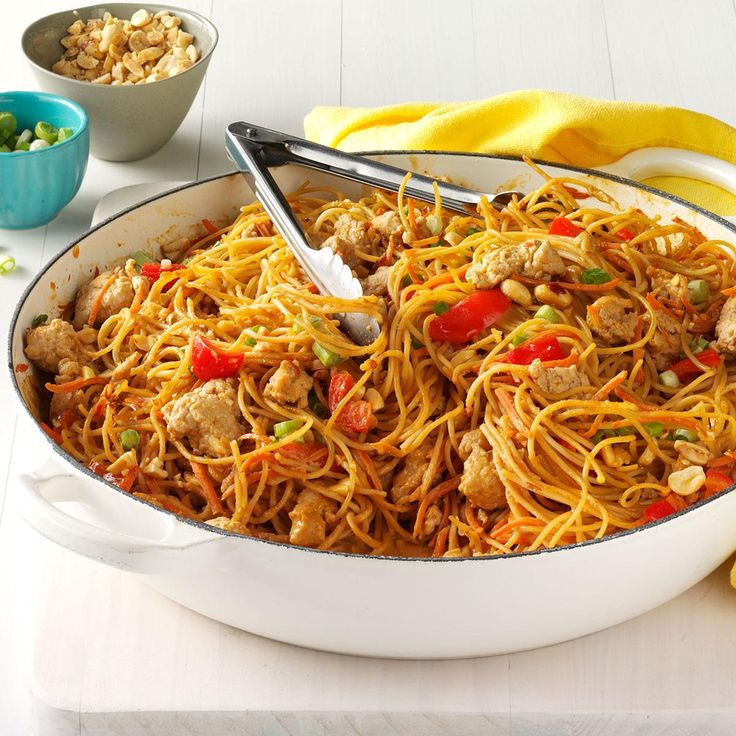 Thai Chicken Peanut Noodles Recipe -My husband loves the spicy Thai flavors in this speedy, simple dish and often breaks out the chopsticks for a more immersed experience. — Jennifer Fisher, Austin, Texas