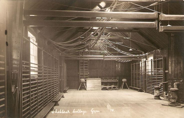 A far cry from our current state-of-the-art gym, this is a shot of the college's old gymnasium