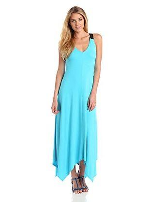 51% OFF Three Dots Red Women's Handkerchief Dress (Paradise Blue)