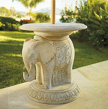 Elephant Umbrella Table - traditional - outdoor umbrellas - FRONTGATE