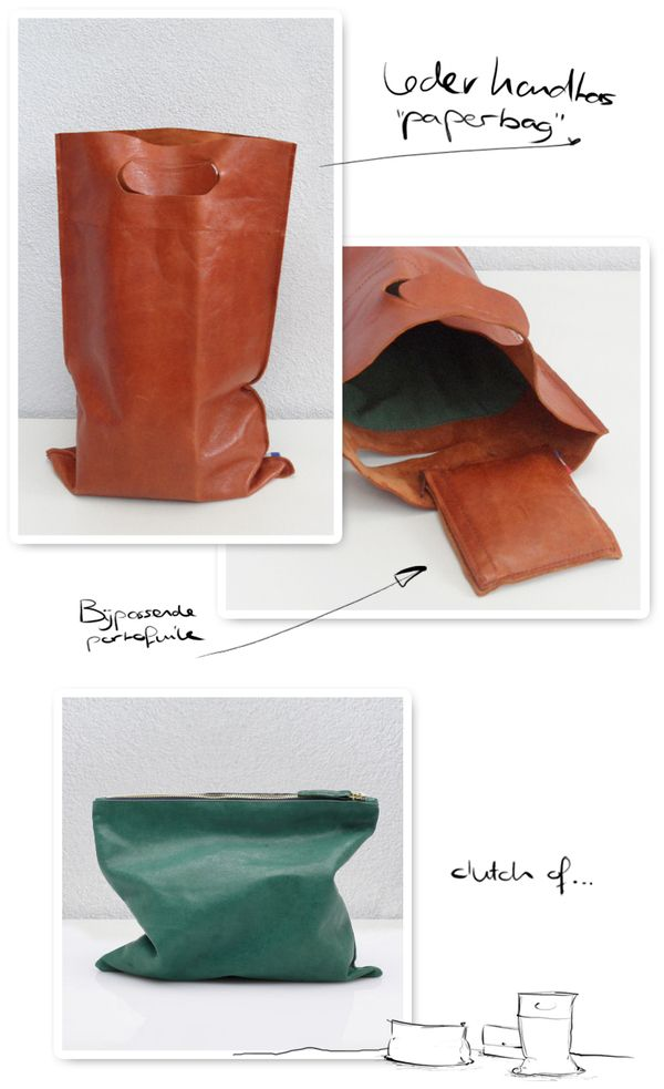 Leather bag ´paperbag´ by Frieke Severs, via Behance